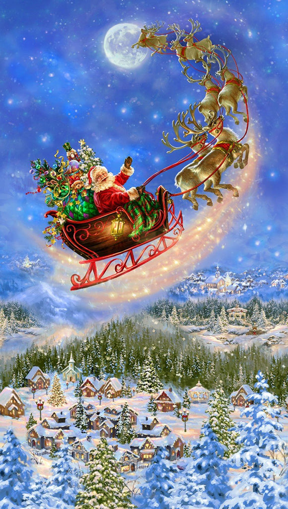 SANTA ON SLED, Christmas Holiday Cotton Panel by Timeless Treasures 24 x 44 Inches