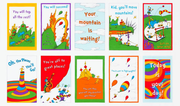 Dr. Seuss children's fabric panel Oh The Places You Will Go 23 x 44 inches
