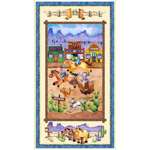 Horsin Around children's cotton western fabric panel featuring horses shades of yellow green blues gold and rust