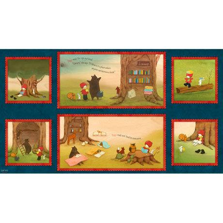 POPPI LOVES PANEL, Reading Together Poppi Loves Picture Patches 24x44 Cotton Fabric Panel