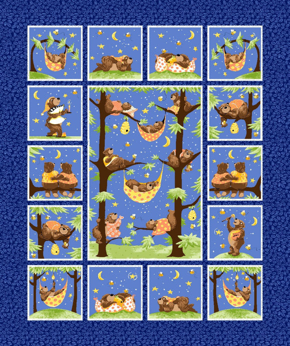 Baron The Bear Fabric Panel Blue Multi Cotton Fabric
