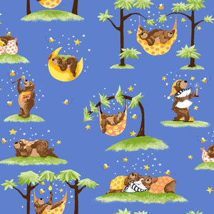 Baron The Bear Fabric print with woodland animals