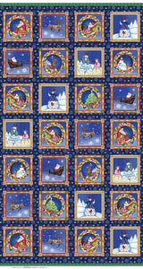 Christmas Fabric Panel A Quilter's Christmas Fabric Panel from Benartex in colors of blue