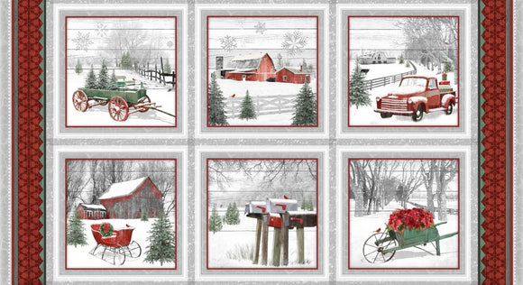 Holiday Homestead Fabric Panel 24 x 44 Inches by Jan Shade colors of red gray white and green