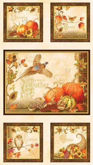Autumn Fabric Panels Autumn Song 23 x 44 inches in rich autumn colors