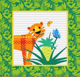 Gold Wild Children's Cotton Fabric Panel 15 inch bright green square with an orange tiger