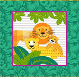 Gold Wild Children's Cotton Fabric Panel 15 inch bright blue square with mother Lion and two cubs