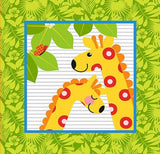 Gold Wild Children's Cotton Fabric Panel 15 inch bright green square with two bright yellow and orange giraffes