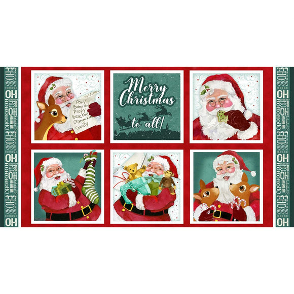 Jolly Ole St. Nick Christmas Holiday fabric panel 23 x 42 inches.  Traditional Santa Claus pictures in Christmas colors.