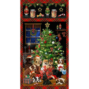 Fireside Pups Holiday Christmas fabric panel 24 x 44 inches colors of black green red blue green and gold