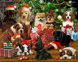 Fireside Pups Holiday Christmas fabric panel 24 x 44 inches