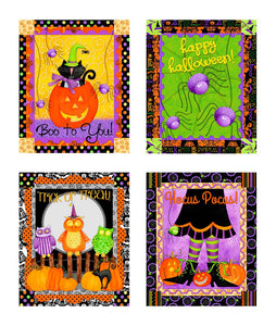Hocu Pocus Halloween Fabric Panel 22 x 44 Inches in orange green purple black yellow