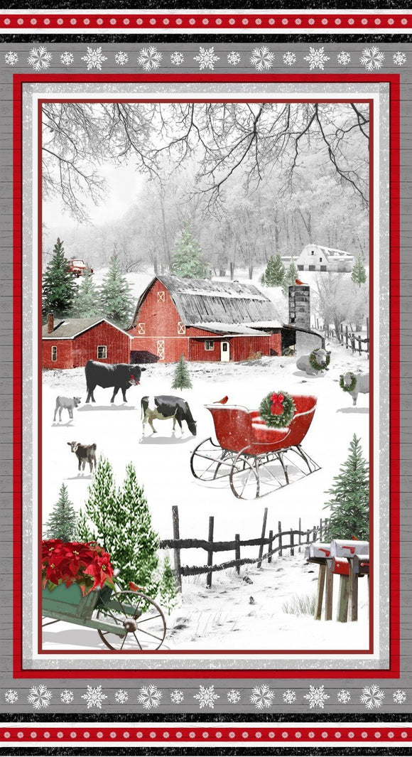 Holiday Homestead Christmas Fabric Panel featuring a farm scene 24 x 44 inches