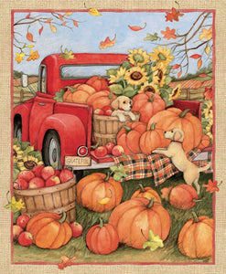 Little Red Truck Harvest fabric panel 36 x 44 inches from Springs Creative.  Colors of orange yellow green red and brown.