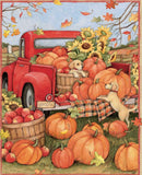 Little Red Truck at Harvest panel 36 x 44 inches.  Pumpkins in orange yellow gold green and little gold pup