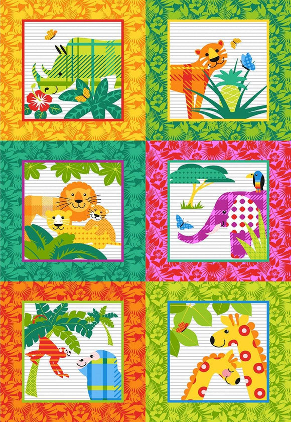 Gone Wild Children's Cotton Fabric Panel 30 x 45 inches from Studio E.  Six 15 inch squares in each panel with jungle animals in each square