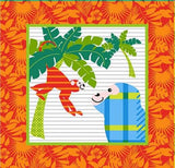 Gold Wild Children's Cotton Fabric Panel 15 inch bright orange square with blue striped monkey