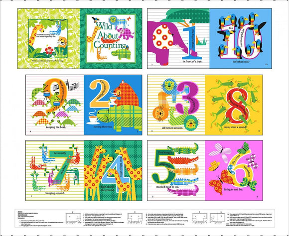 Gone Wild Children's Soft Cloth Book Panel to sew.  Featuring bright colors and numbers with jungle animals