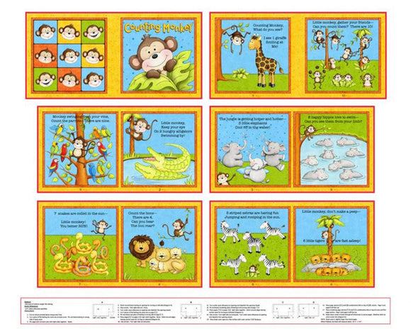 Counting Monkeys Children's Cloth Book Panel to Sew Blue Green Yellow and Orange colors