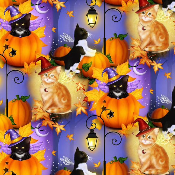 HALLOWEEN CAT FAIRIES, Children's Cotton Halloween Fabric 44-45 Inches Wide by David Textiles