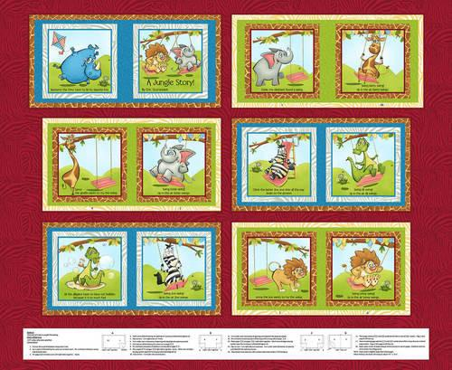 A Jungle Story children's cotton cloth book panel