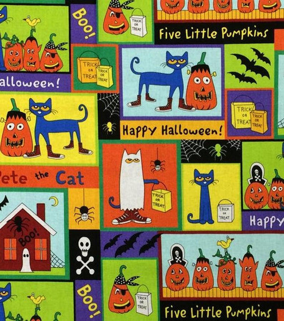 PETE THE CAT, Halloween Patch Children's Halloween Cotton Fabric 44 Inches Wide