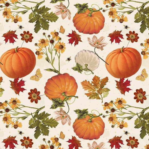 Fall Garden autumn cotton fabric by David Textiles with pumpkins in  colors of orange green yellow white