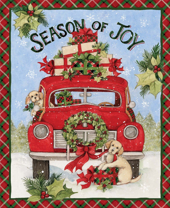 CHRISTMAS HOLIDAY PANEL, Christmas Season of Joy Red Truck Cotton Panel 36 x 44 Inches Springs Creative