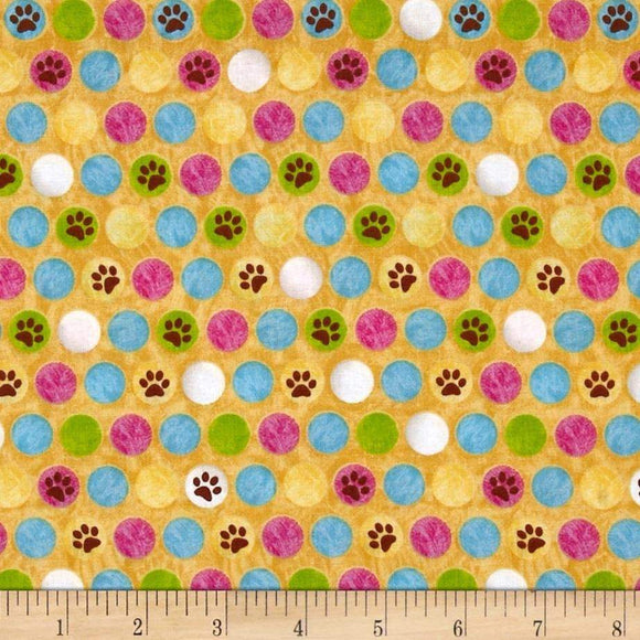 Kozy Kittens Chilldrens Fabric Yardage 45 inches wide cotton.  Hello background with multi colored dots and paw prints,