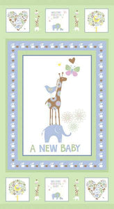 New Baby Flannel Children's Fabric Panels 23 x 43 Inches Pastel green and blue from Fresh Designs