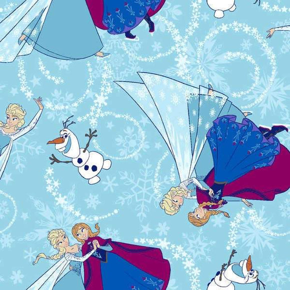 Disney Frozen Children's Cotton Fabric multi blue featuring Ana Elsa and Olaf dancing 43 inches wide