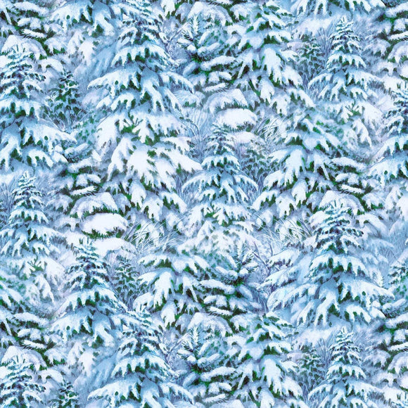 Quiet Bunny Noisy Puppy Blue Snowy Trees cotton fabric by by Lisa McCue for Wilmington Prints