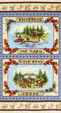 SARANAC LAKE LODGE,  Cotton Fabric Quilting Panel by Benartex 23.5 x 44 Inches