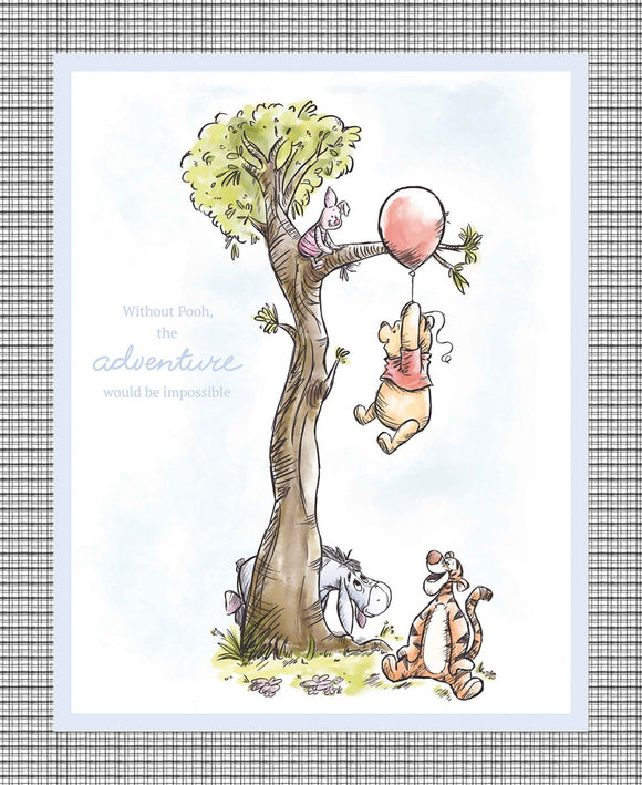 Winnie The Pooh And Friends Children's Fabric Panel 36 x 44 Inches Cotton Colors Of Blue Green Pink Yellow Featuring Pooh Eyore Piglet and Tigger Under A Tree