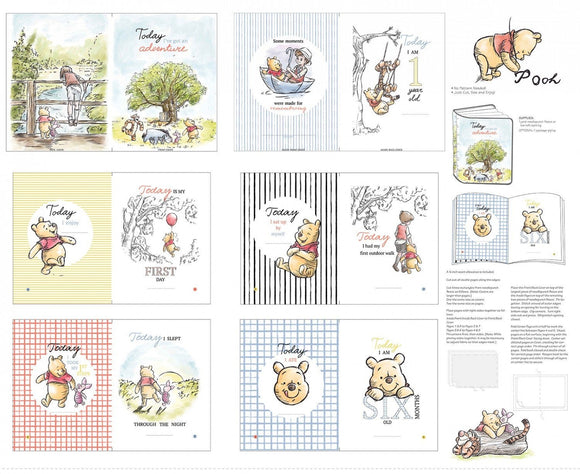Classic Winnie The Pooh Soft Cloth Book Panel 12 pages Pooh Eyore Piglet Tigger Christopher Robin