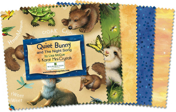 QUIET BUNNY, and The Night Song 5 Inch Cotton Squares by Lisa McCune for Wilmington Prints