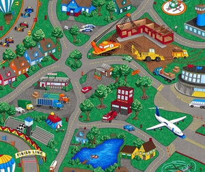 Sew N Go Children's Play Mat 36 x 44 Inches all modes of transportation including town with roadways.