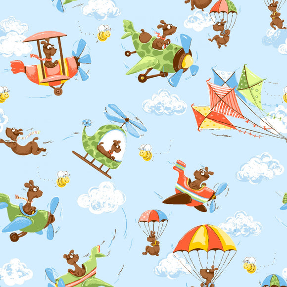 Susybee Fabrics Zig The Flying Ace Children's Cotton Fabric Yardage Ace Flying In Airplane Parachuting Colors of Blue Orange Yellow Green Brown