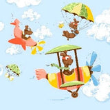 Zig The Flying Ace Susybee Fabric Double Border 44 Inches Wide with 22 Inch Repeat.  Colors in Blue Green Orange Gold Brown Featuring Ace The Flying Dog