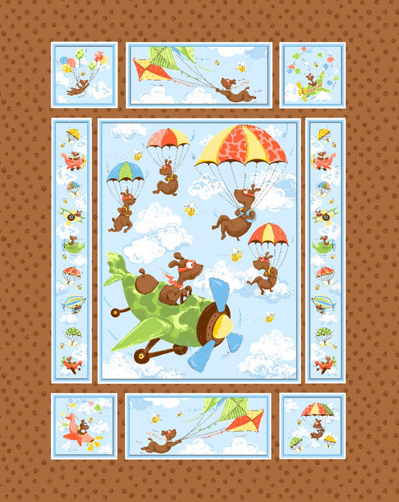 Zig The Flying Ace from Susybee Fabric Panel Collection colors in blue orange yellow white green and brown 36 x 44 inches