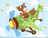Zig The Flying Ace Children's Cotton Play Mat Fabric Panel To Sew 36 x 43 Inches in shades of blue green brown gold