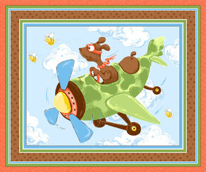 Zig The Flying Ace Children's Cotton Play Mat Fabric Panel 36 x 43 Inches Colors in Shades of Blue Green Gold Brown