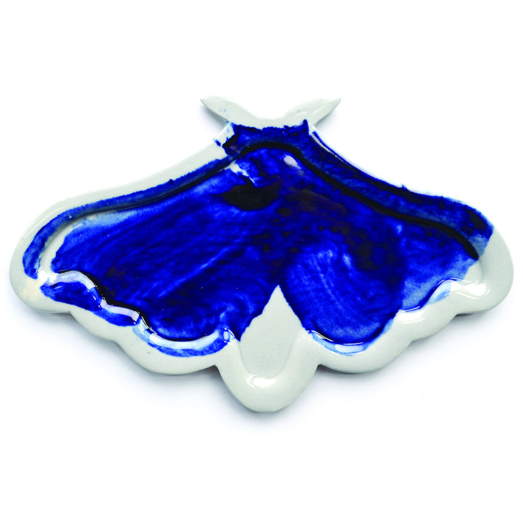29. Pie-Molded Stained Porcelain Moth Plate by Adam Chau