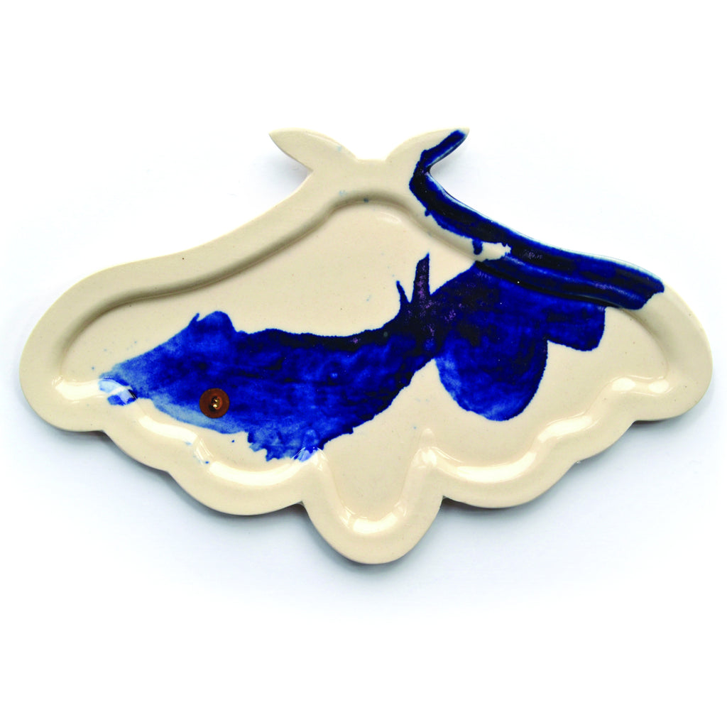 40. Pie-Molded Porcelain Moth Plate with Gold Luster by Adam Chau