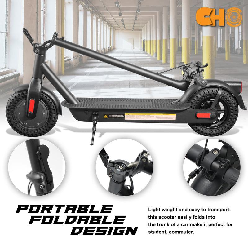 "CHO 10"" Wheels Electric Portable Rechargeable Folding Scooter Black - CHO Sports"