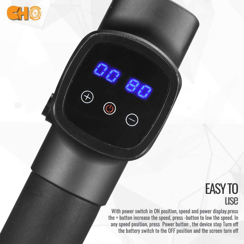 CHO Cordless Massage Gun Handheld Portable Professional Deep Body Muscle Massager Pain Relief Premium Black - CHO Sports