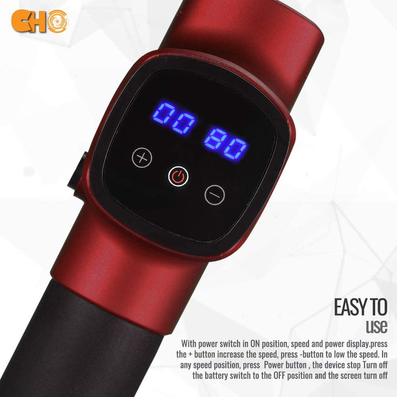 CHO Cordless Massage Gun Handheld Portable Professional Deep Body Muscle Massager Pain Relief Premium Red - CHO Sports
