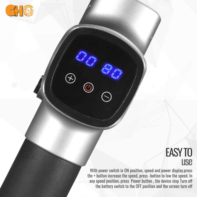 CHO Cordless Massage Gun Handheld Portable Professional Deep Body Muscle Massager Pain Relief Premium Silver - CHO Sports
