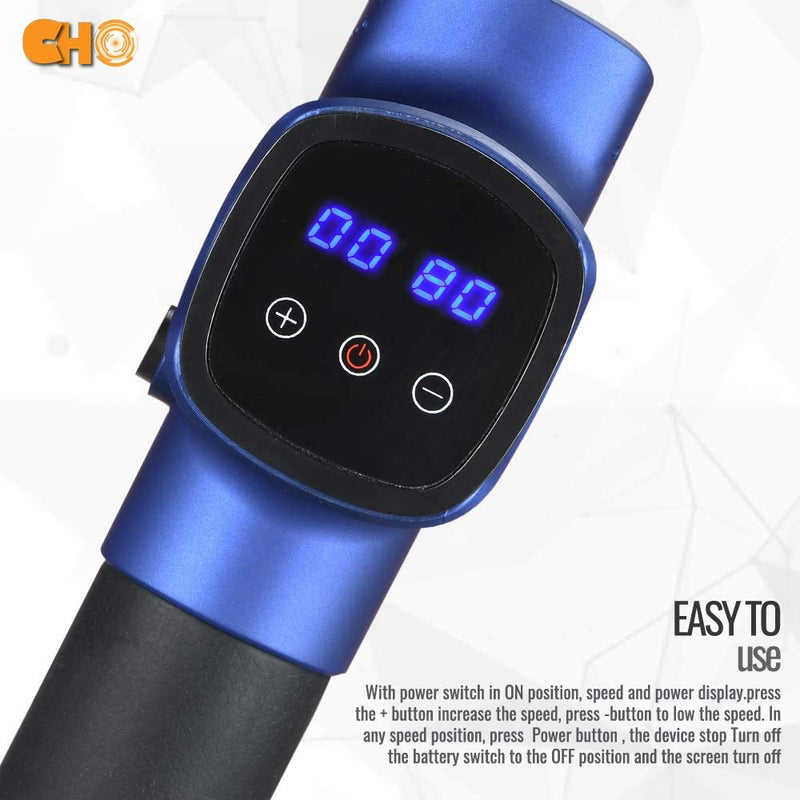 CHO Cordless Massage Gun Handheld Portable Professional Deep Body Muscle Massager Pain Relief Premium Blue - CHO Sports