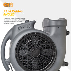 CHO Air Mover Durable Lightweight Carpet Dryer Utility Blower Floor Fan for Janitorial Cleaner Home Commercial Grey - CHO Sports